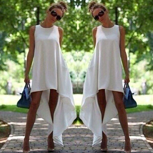 Robe Blanche Courte Devant et Longue Derrière 4 | Soirée Blanche