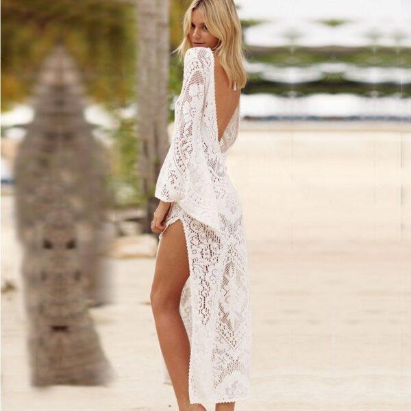 Robe Blanche Hippie de Plage 3   Soirée Blanche