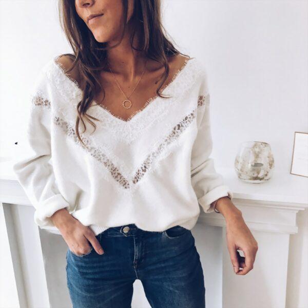 Pull Blanc Femme Dentelle 3 | Soirée Blanche