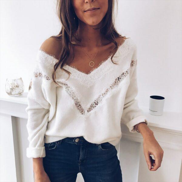 Pull Blanc Femme Dentelle 5 | Soirée Blanche