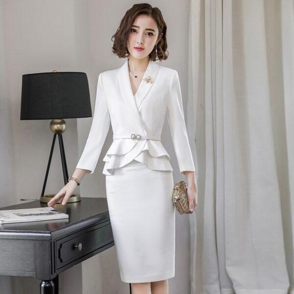 Tailleur Jupe Femme Mariage Blanc 4   Soirée Blanche