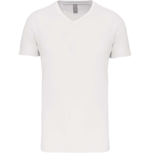 Tee Shirt Blanc Col V Homme   Soirée Blanche