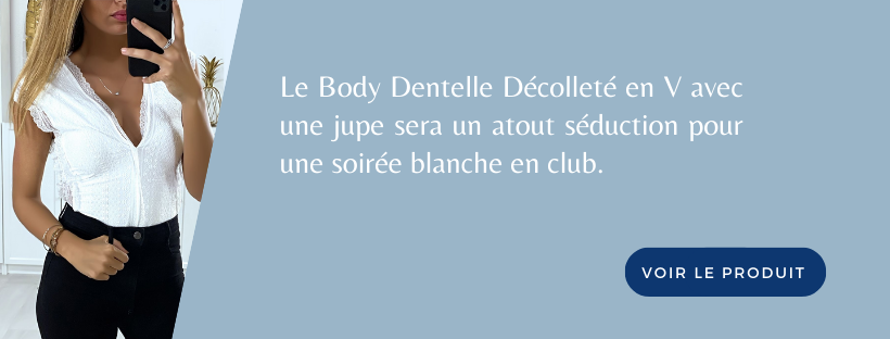 Body Dentelle Décolleté en V | Soirée Blanche