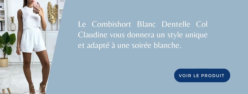 Combishort Blanc Dentelle Col Claudine