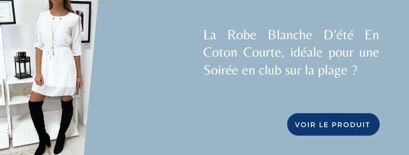 Robe Blanche D'été En Coton