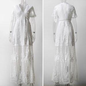 Robe Longue Blanche Dentelle 11 | Soirée Blanche