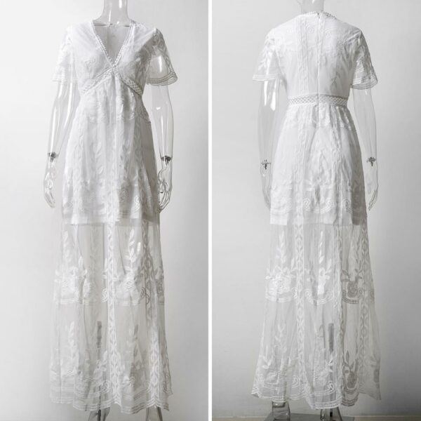Robe Longue Blanche Dentelle 5 | Soirée Blanche