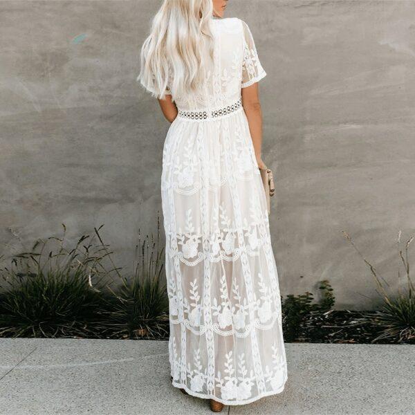 Robe Longue Blanche Dentelle 2 | Soirée Blanche