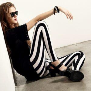 Pantalon Carreaux Noir Et Blanc Femme 27   Soirée Blanche