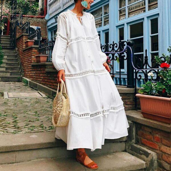Robe Blanche Bohème Mi Longue 2 | Soirée Blanche