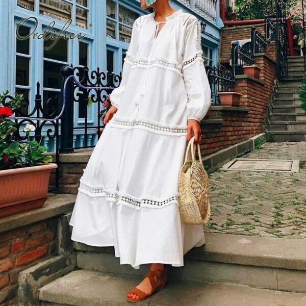 Robe Blanche Bohème Mi Longue 1 | Soirée Blanche