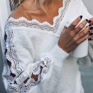 Pull Blanc Col V 6 | Soirée Blanche