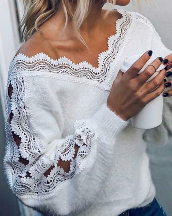 Pull Blanc Col V 3 | Soirée Blanche