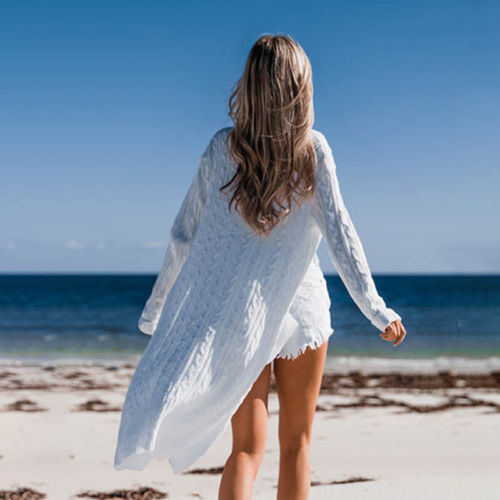 Gilet Long Blanc Femme 1 | Soirée Blanche