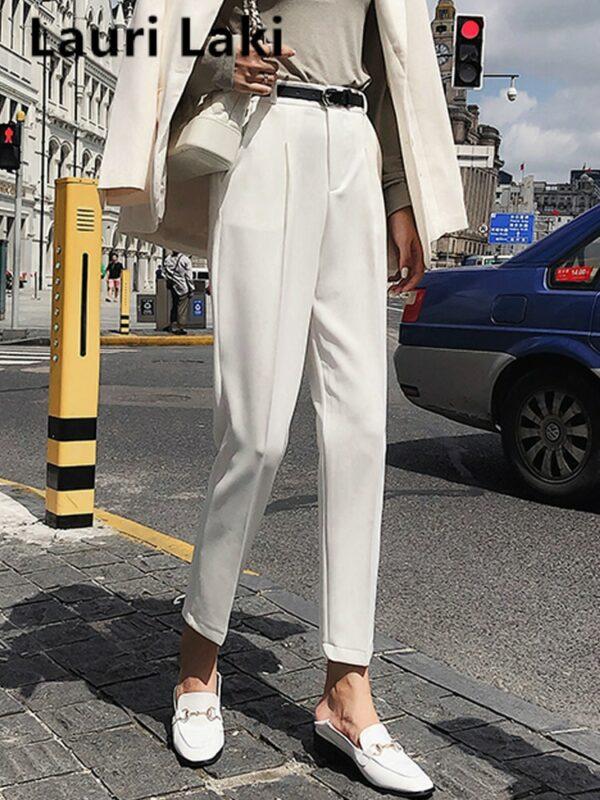 Pantalon Blanc Femme Taille Haute 5 | Soirée Blanche
