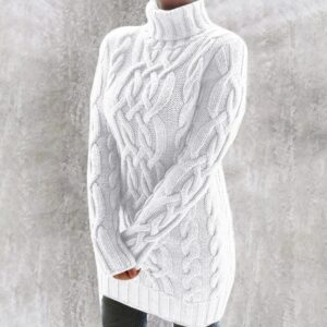 Pull Col Roulé Femme Blanc 15 | Soirée Blanche