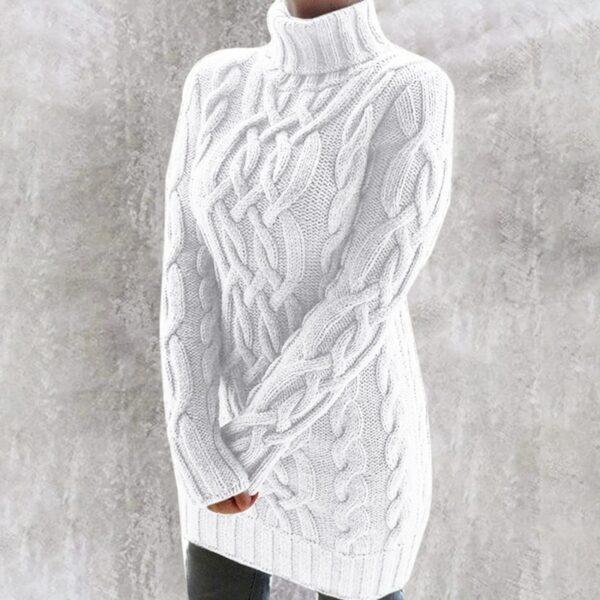 Pull Col Roulé Femme Blanc 8 | Soirée Blanche