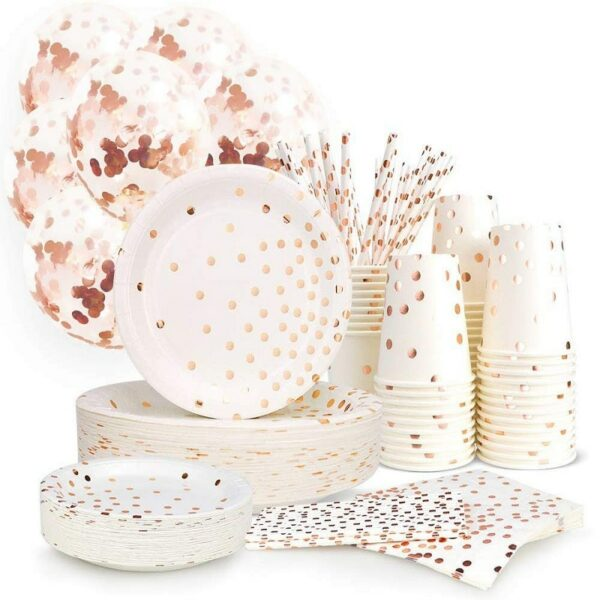 Vaisselle Mariage Blanche Et Or Rose Jetable 2 | Soirée Blanche