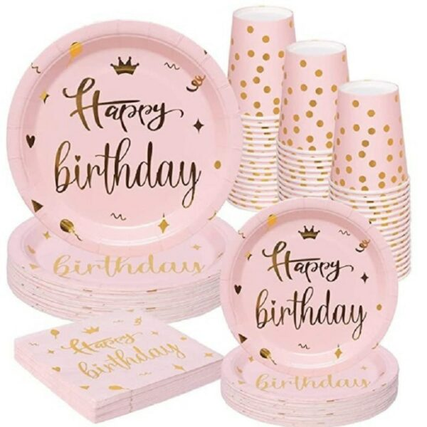 Vaisselle Blanche et Or Happy Birthday 2 | Soirée Blanche