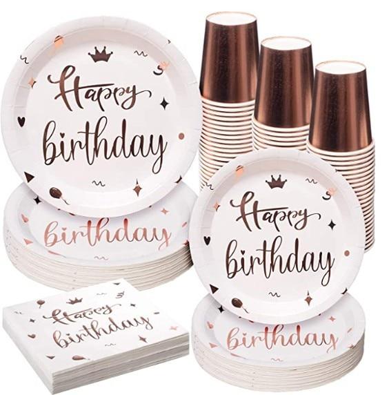 Vaisselle Blanche et Or Happy Birthday 4 | Soirée Blanche