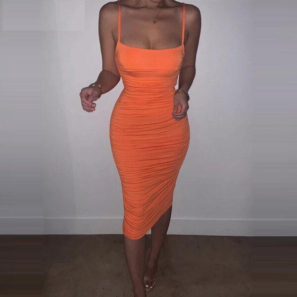 Robe Orange Monlante | Soirée Blanche