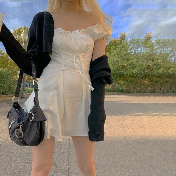 Robe Courte Blanche Lacets - Soirée Blanche