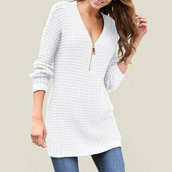 Pull Blanc Femme Long 9 | Soirée Blanche