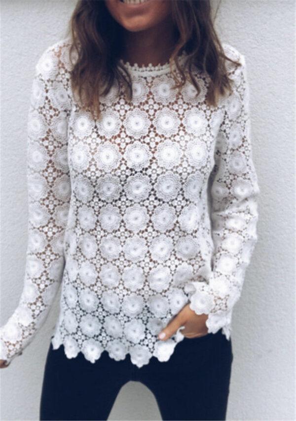 Tee Shirt Blanc Femme Manche Longue 5   Soirée Blanche