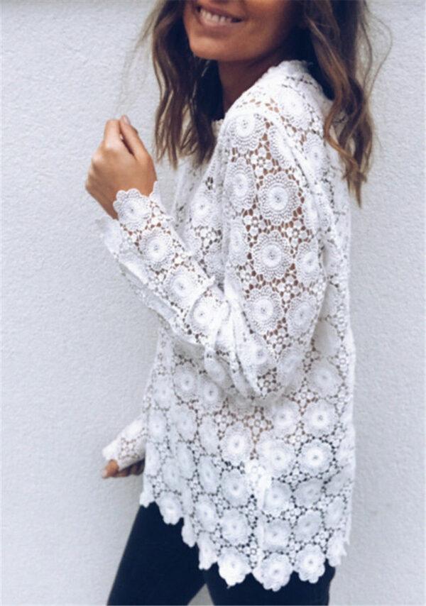 Tee Shirt Blanc Femme Manche Longue 4   Soirée Blanche