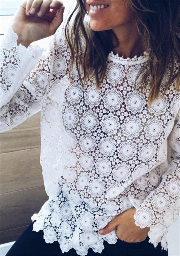 Tee Shirt Blanc Femme Manche Longue 6   Soirée Blanche