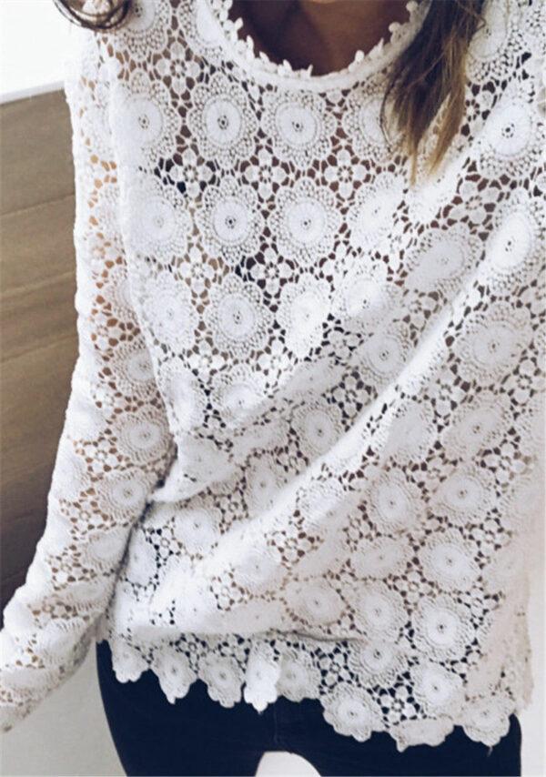 Tee Shirt Blanc Femme Manche Longue 7   Soirée Blanche