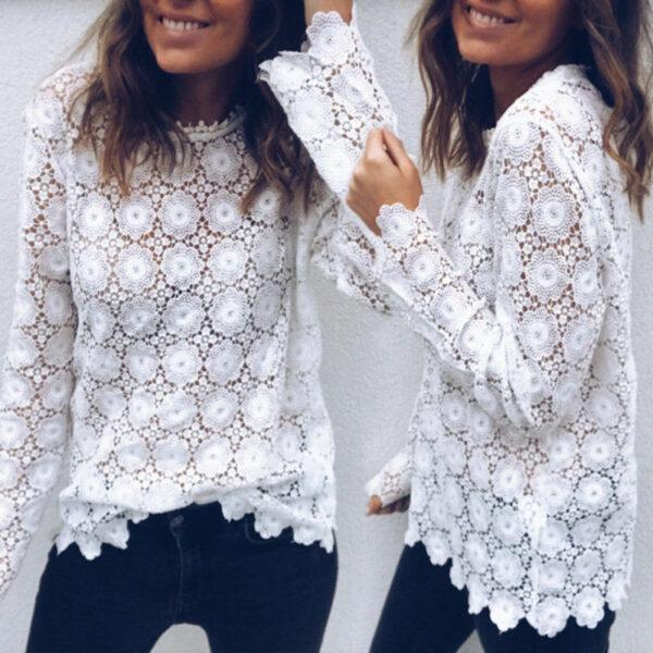 Tee Shirt Blanc Femme Manche Longue 3   Soirée Blanche
