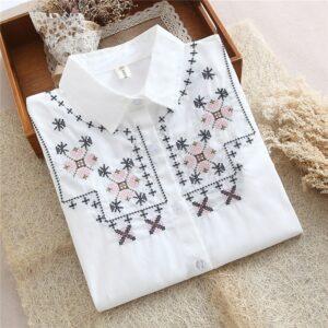 Chemise Blanche Brodée Femme 23 | Soirée Blanche