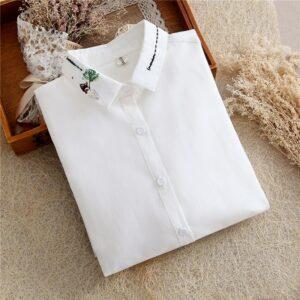 Chemise Blanche Brodée Femme 27 | Soirée Blanche