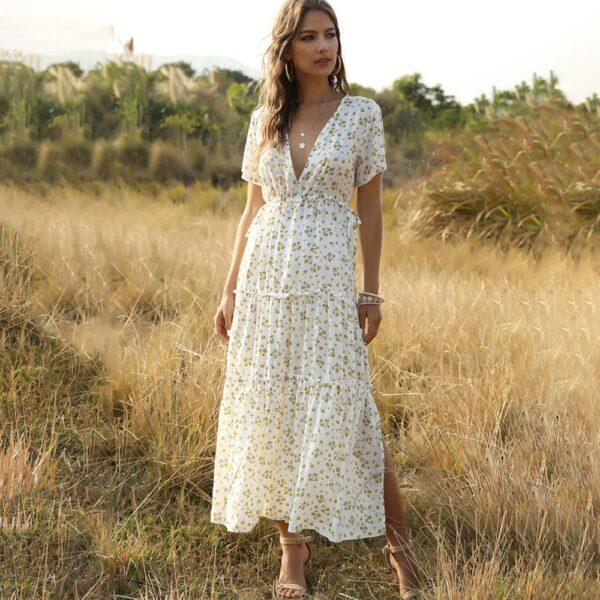 Robe Longue Blanche Fleurie 1 | Soirée Blanche
