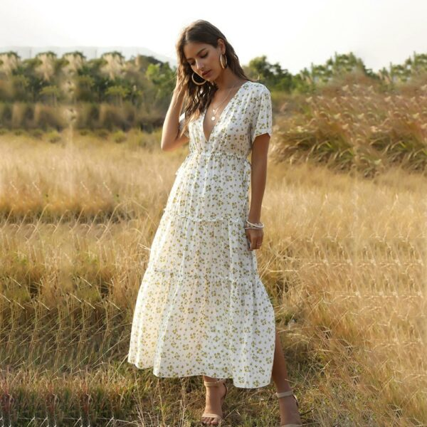 Robe Longue Blanche Fleurie 2 | Soirée Blanche
