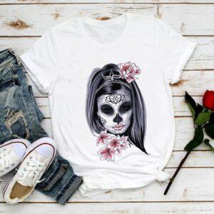Tee Shirt Blanc Femme Tête de Mort - Soirée Blanche