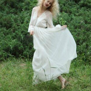 Robe Blanche Longue Manche Longue - Soirée Blanche