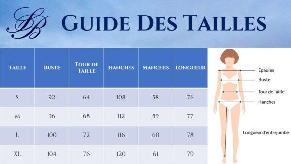 Guide des Tailles - Combishort Blanc Dentelle Manches Longues - Soirée Blanche