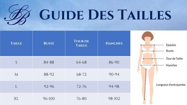 Guide des Tailles - Combishort Blanc Sexy - Soirée Blanche