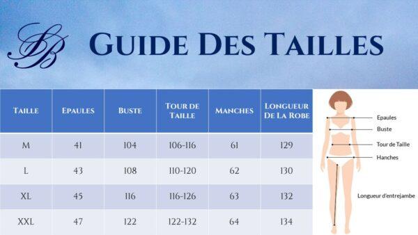 Guide des Tailles - Robe Longue Noire Et Blanche - Soirée Blanche