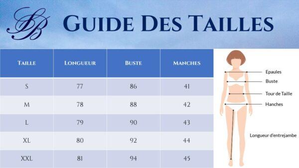 Guide des Tailles - Robe Noire Et Blanche - Soirée Blanche