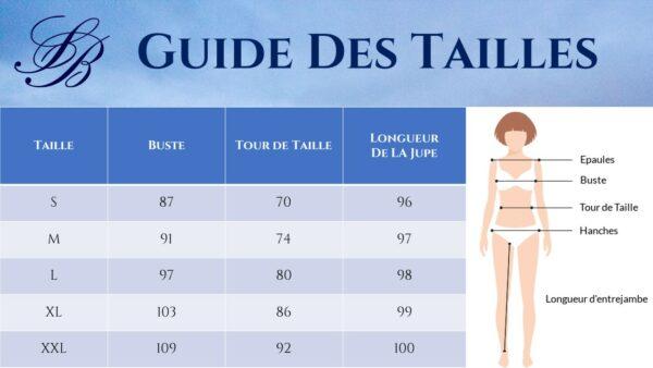 Guide des Tailles - Robe Rose Et Blanche - Soirée Blanche