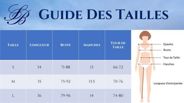 Guide des Tailles - Tee Shirt Blanc Croisé Dos - Soirée Blanche