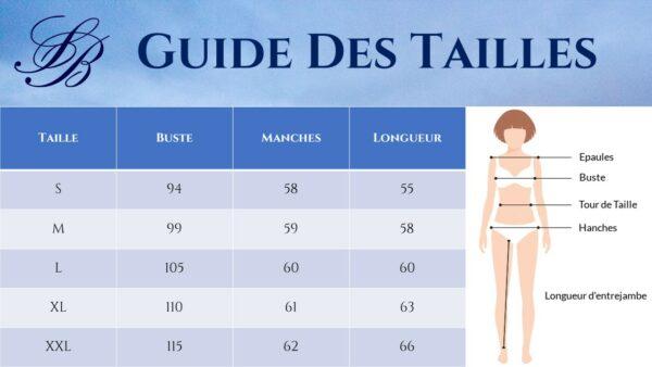 Guide des Tailles - Veste Blanche Légère Femme - Soirée Blanche