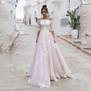 Robe De Mariée Blanche Et Rose | Soirée Blanche