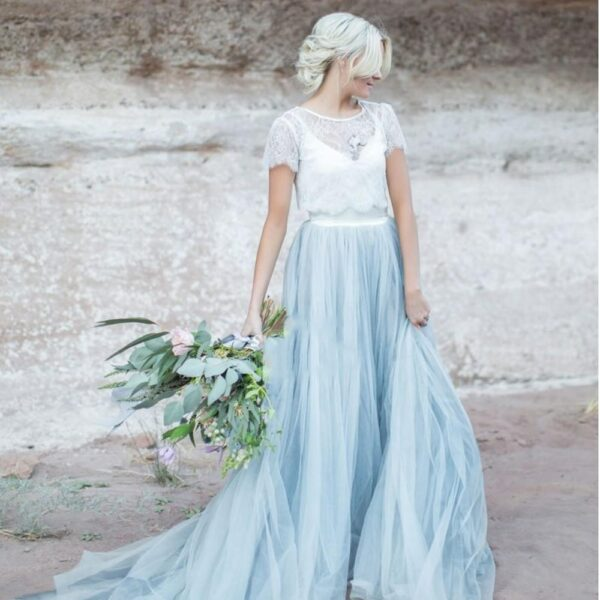 Robe De Mariée Blanche Et Bleu | Soirée Blanche