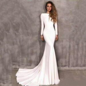 Robe De Mariée Sirène A Manche Longue Blanche | Soirée Blanche