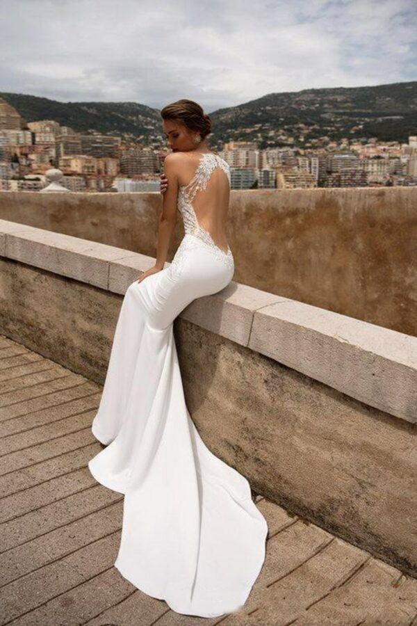 Robe De Mariée Sirène Blanche Dos Nu | soirée Blanche