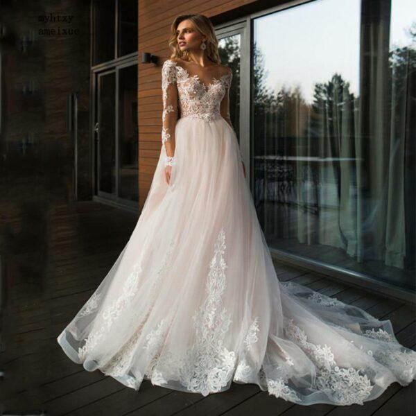 Robe De Mariée Princesse Dentelle Blanche | Soirée Blanche